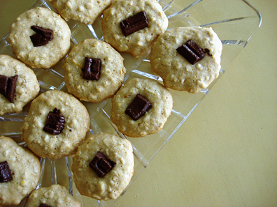 Honey-sweetened chocolate thumbprint cookies
