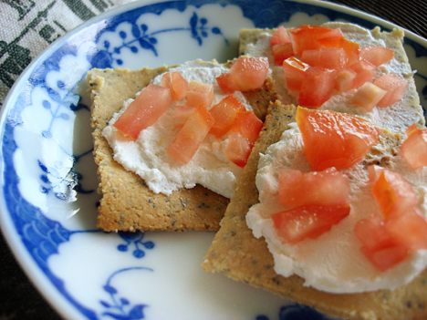 ... cottage cheese and honey. We topped our crackers with goat cheese and